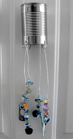 handmade recycled material wind chime