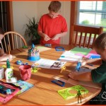 kids doing homeschool art craft