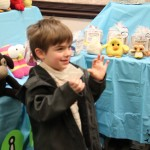 Parker Surprised at Stacy Trock Slug Head: Pittsburgh Knit & Crochet Festival @DinkerGiggles #knit #crochet